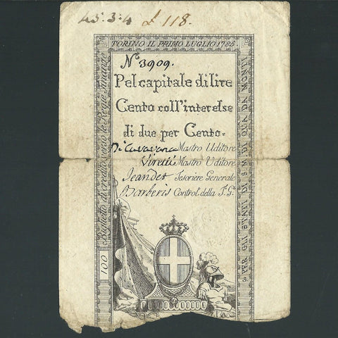 PS.120 Italian States 100 Lire (1785) no.3909, Good