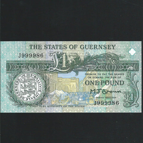 P.52a Guernsey £1, J999986, last of prefix, Brown signature, UNC