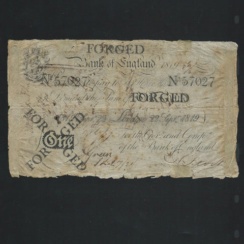 B.201d Hase £1 Contempory Forgery (22nd September 1819), stamped FORGED by the BOE, holes and mount marks, Fine