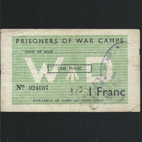 France 1 Franc, POW camps run by British (1944) Camp 5033, note 024007, SB472, Fine