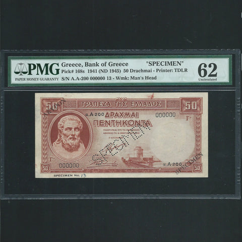 P.168s Greece 50 Drachmai specimen (1941) 000000, previously mounted, PMG62, UNC