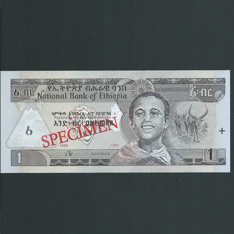 P.46a Ethiopia 1 Birr specimen (1989/1997) without serial, UNC