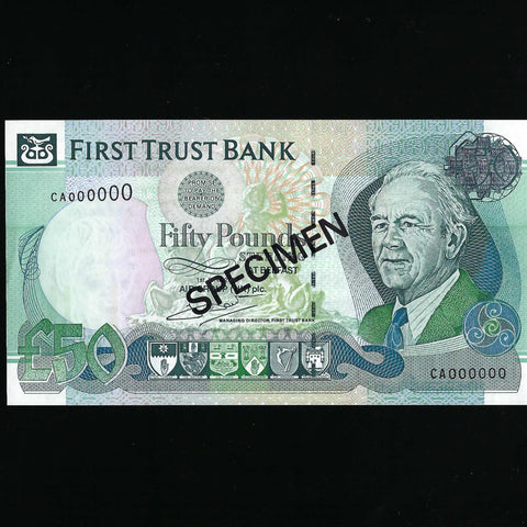 P.138s Northern Ireland £50 specimen (01.06.2009) First trust Bank, Terry McDaid signature, A/UNC