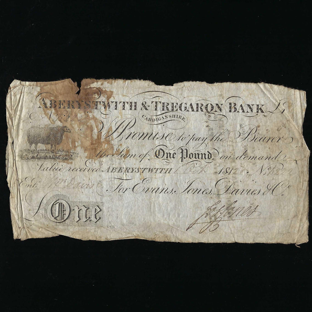 Provincial - Aberystwith & Tregaron Bank £1 (1912) Sheep, for Evans, Davis, jones, with ONE in white, signed Jones, no.222, Outing 14b, VG