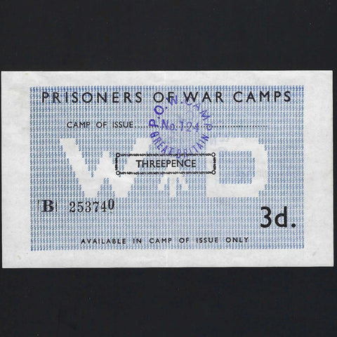 3d. POW Camps in UK for Axis, Wapley Camp nr Yate (date stamp to 11.11.1945) Campbell 5015c, EF