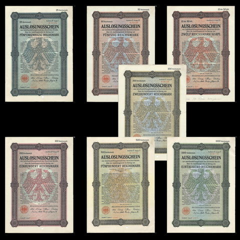 Germany - price for seven bonds, Auslosungsschein (1926) 12 & 1/2, 25, 50, 100, 500,200 & 1000 RM - Colin Narbeth & Son Ltd.