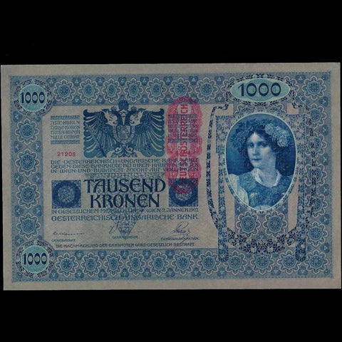 P.59a Austria 1000 Kronen (1919, dated 1902) EF