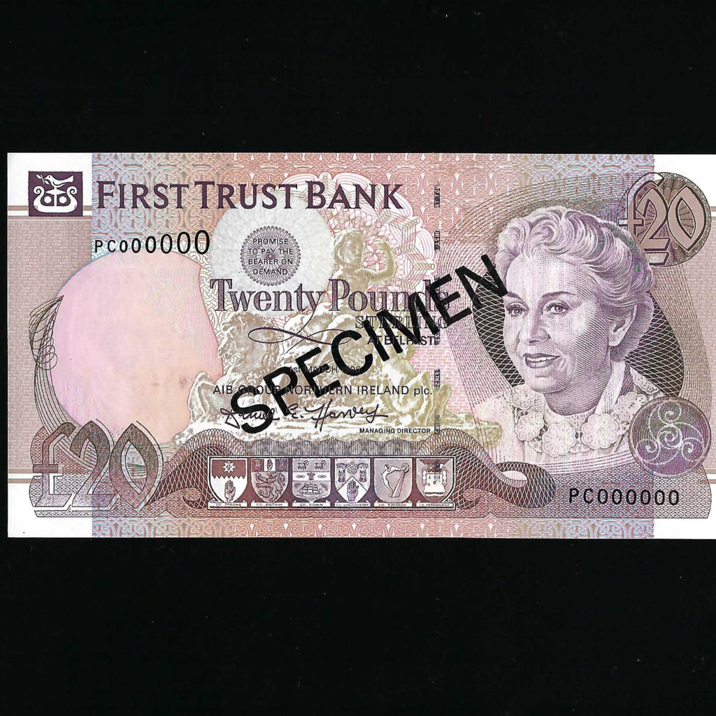 P.133s Northern Ireland £20 specimen (01.03.1996) First Trust Bank, D. Harvey signature, A/UNC