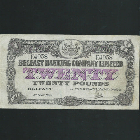P.129c Northern Ireland £20 (03.02.1943) Belfast Banking Co., E4058, ink and pencil annotations on reverse, Good Fine
