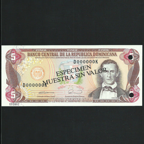 P.131 Dominican Republic 5 Pesos specimen (1990) Harrisons, UNC