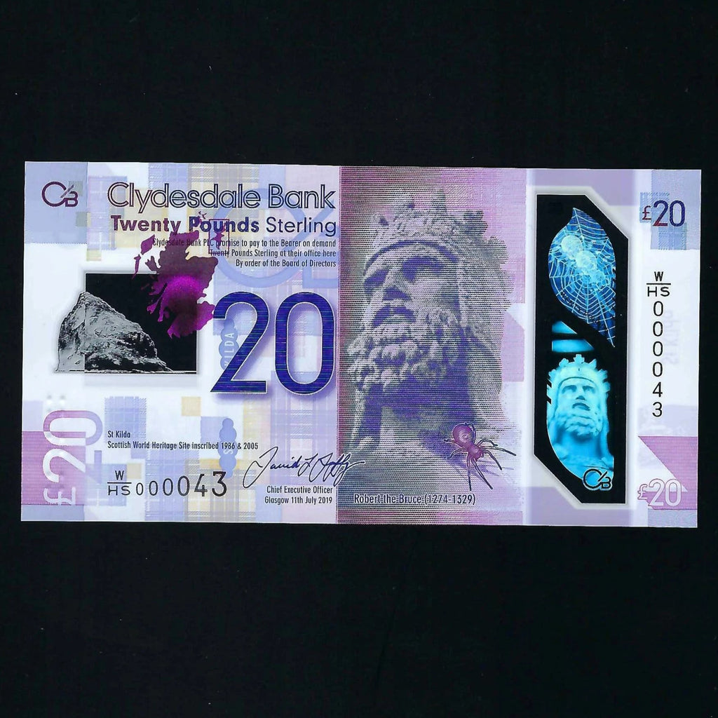 Scotland £20 polymer (new) Clydesdale Bank, first million & low serial, W/HS 000043, UNC