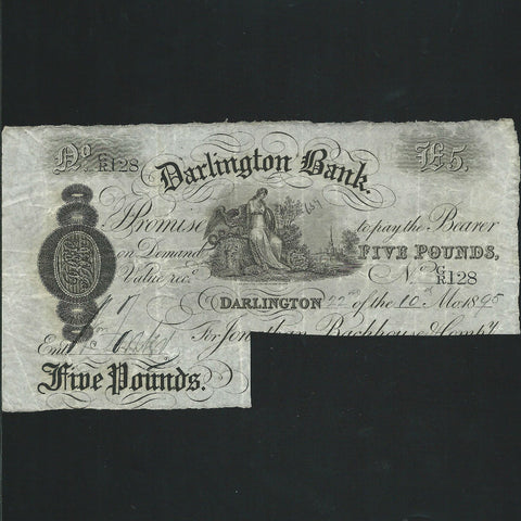 Provincial - Darlington Bank £5 (24.11.1893) for Jonatan Backhouse, Outing 629r, cut cancelled, Good VF