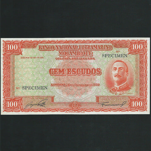 P.103 Mozambique 100 Escudos specimen (1950) staple holes otherwise A/UNC
