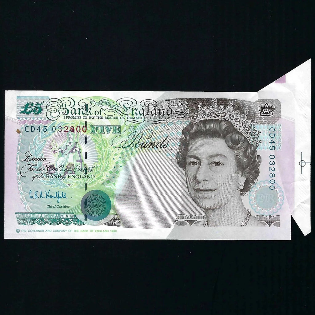 B364 Kentfield £5 error, shark fin, CD45, UNC