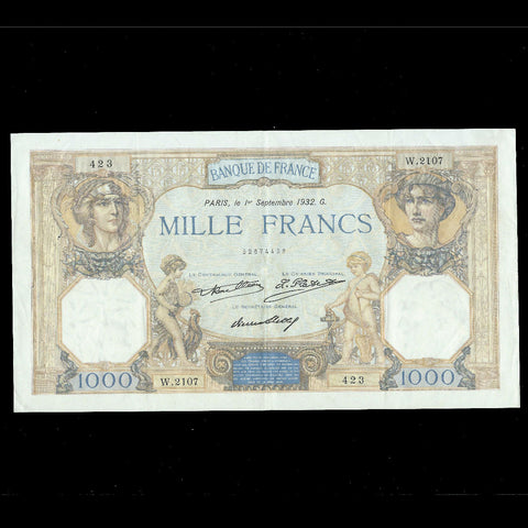 P. 79b France 1000 Francs (01.09.1932) Rouilea, Platet, Strohl, VF