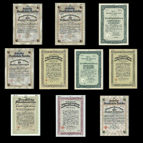 Nazi Germany, packet  of 10 different bonds (1935-42)