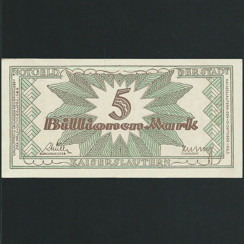 Germany 5 Billion Mark (1924) Kaiserslautern, Good EF