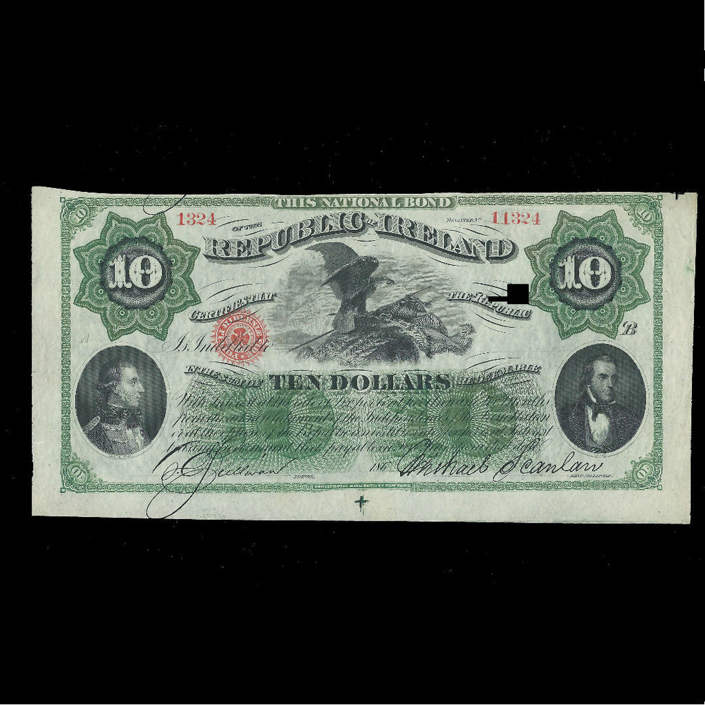 PS.102a Republic Of Ireland Bond $10 (1866) unissued, Good EF