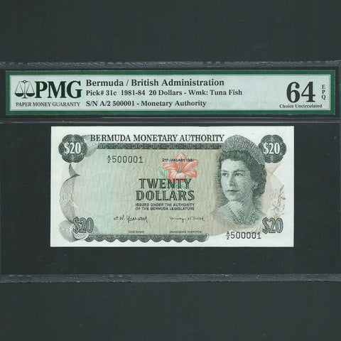 P.31c Bermuda $20 (02.01.1981) Chairman/ Managing Director, A/2 500001, this is note 1 of this signature, date and title, (PMG 64) UNC