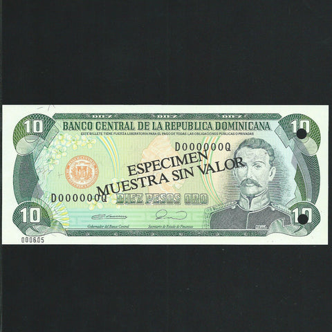 P.132 Dominican Republic 10 Peso (1990) Harrisons, UNC