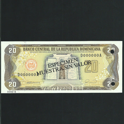 P.133 Dominican Republic 20 Pesos specimen (1990) Harrisons, UNC