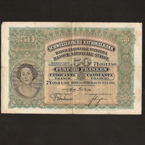P.34f  Switzerland 50 Franc (1931) Fine - Colin Narbeth & Son Ltd.