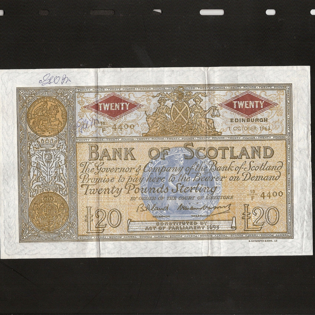 P. 94f Scotland £20 (01.10.1963) Bank Of Scotland, Bilsland/ Watson, 10/F (500000 issued). Ink marks, Good VF - Colin Narbeth & Son Ltd.