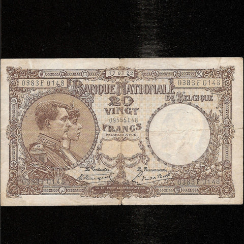 P. 94 Belgium 20 Francs (17.03.1922) 0383F0148, Fine - Colin Narbeth & Son Ltd. - 1