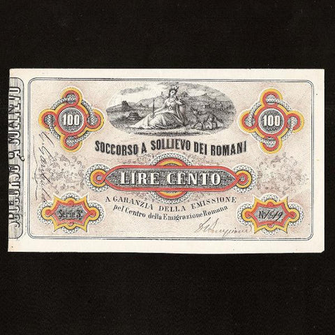 Italy 100 Lire (1867) Garabaldi fund note, autographed by him at left margin. Missing corner tip EF - Colin Narbeth & Son Ltd. - 1