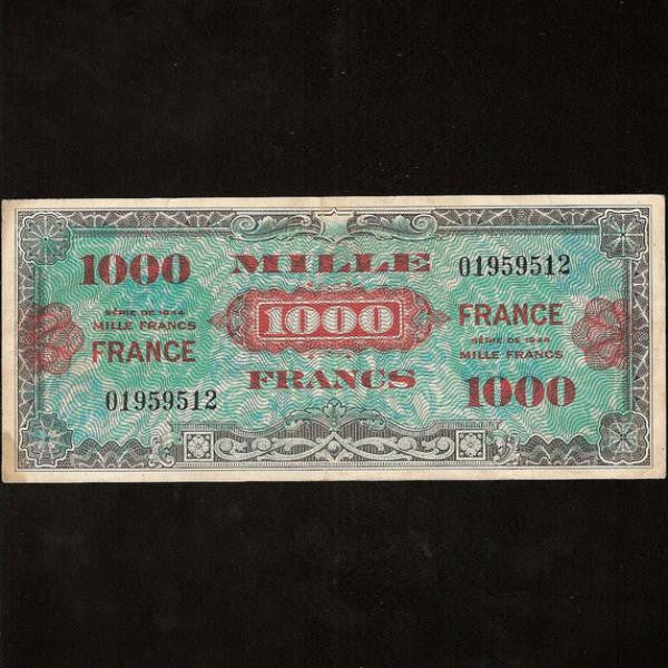 P.125a France 1000 Francs (1944) Allied Liberation Currency. Fine - Colin Narbeth & Son Ltd. - 1