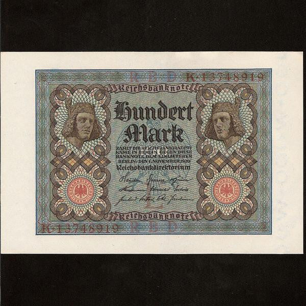 P. 69 Germany 100 mark (1920) 'Bam berg Horsemen' UNC - Colin Narbeth & Son Ltd. - 1