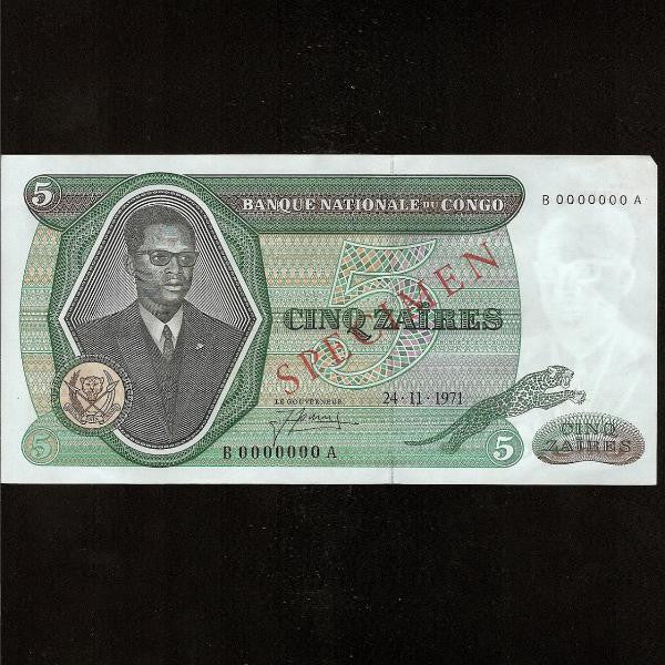 P.14s Congo Democratic Republic 5 Zaires Specimen (24.11.1971) Banque Nationale du Congo. B000000A. EF - Colin Narbeth & Son Ltd.