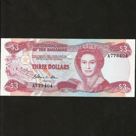 P.44 Bahamas $3 (1974) Central Bank. Allen signature, QEII. UNC - Colin Narbeth & Son Ltd. - 1