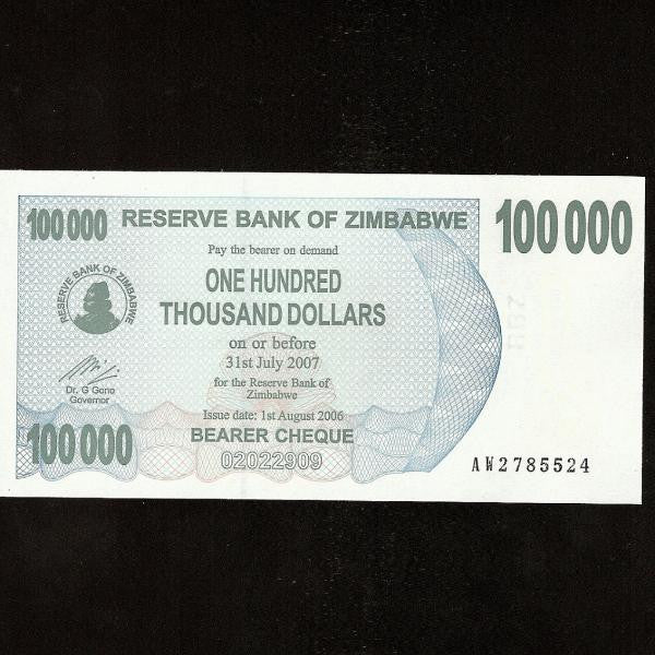 P.48 Zimbabwe 100000 Dollars (01.08.2006) UNC - Colin Narbeth & Son Ltd.