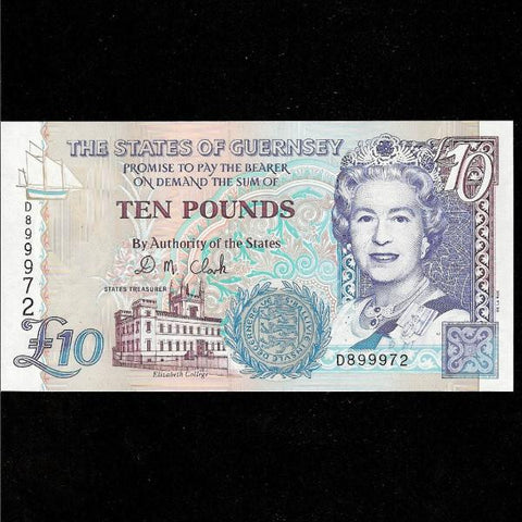 P.57b Guernsey £10 QEII D899971 Clarke sig.Last notes of old thread end  UNC - Colin Narbeth & Son Ltd.