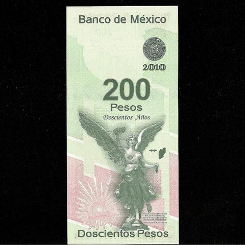 P.129 Mexico 200 Pesos (2010) Bicentenal. UNC - Colin Narbeth & Son Ltd.