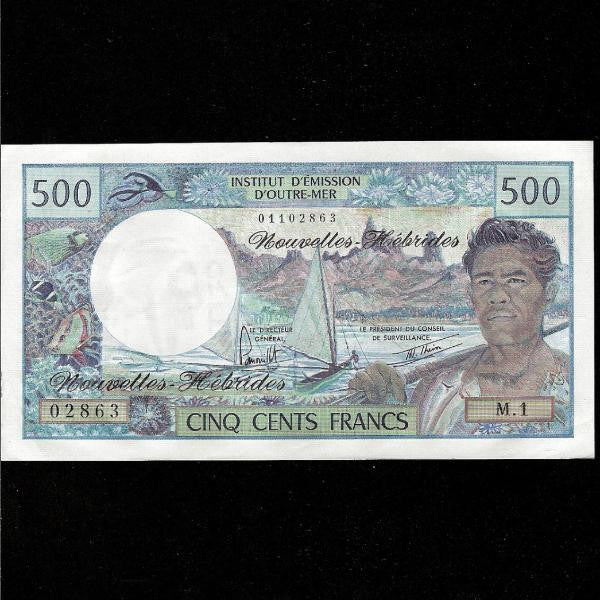 P.19b New Hebrides 500 Francs (1979) signature 3. EF - Colin Narbeth & Son Ltd.
