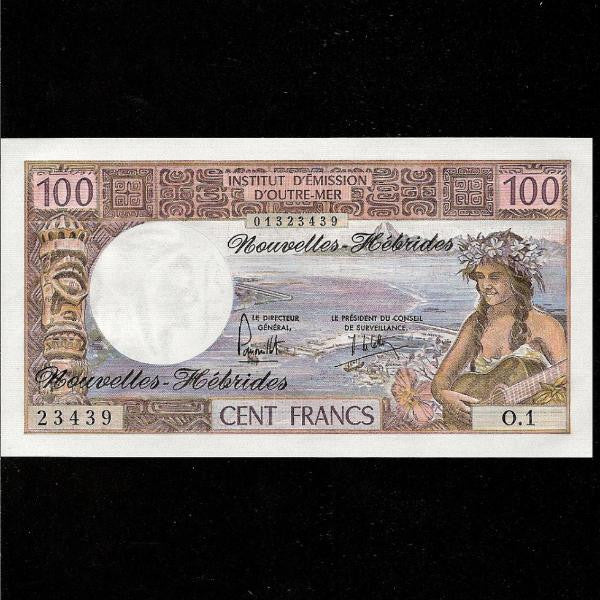 P.18c New Hebrides 100 Francs (1975) signature 2. UNC - Colin Narbeth & Son Ltd.