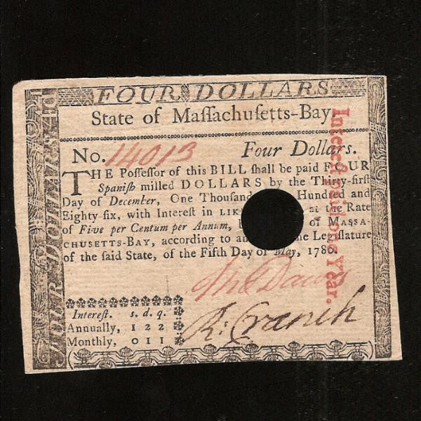 PS.1339 US Colonial Four Spanish Milled Dollars (05.05.1780) Massachusetts - Bay. Interest at 5% hole cancelled on redemption. Guarantee signed by Thomas Whalley. Good EF - Colin Narbeth & Son Ltd.