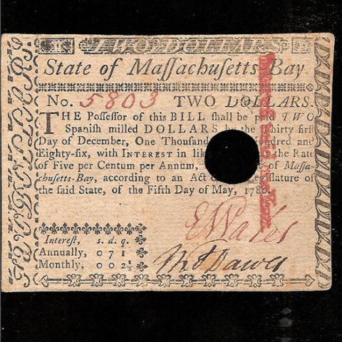 PS.1377 US Colonial 2 Spanish Milled Dollars 905.05.1780) Massachusetts- Bay. Interest at 5% hole cancelled on redemption. Guarantee signed by Peter Boyer. Good EF - Colin Narbeth & Son Ltd.