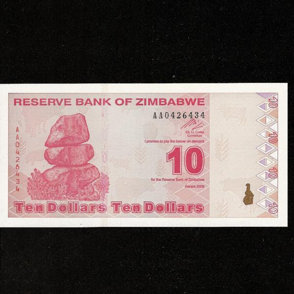 P.94 Zimbabwe 10 Dollar  (2009) this issue replaced the Trillions so this was equal to  Ten  Trillion old dollars UNC - Colin Narbeth & Son Ltd.