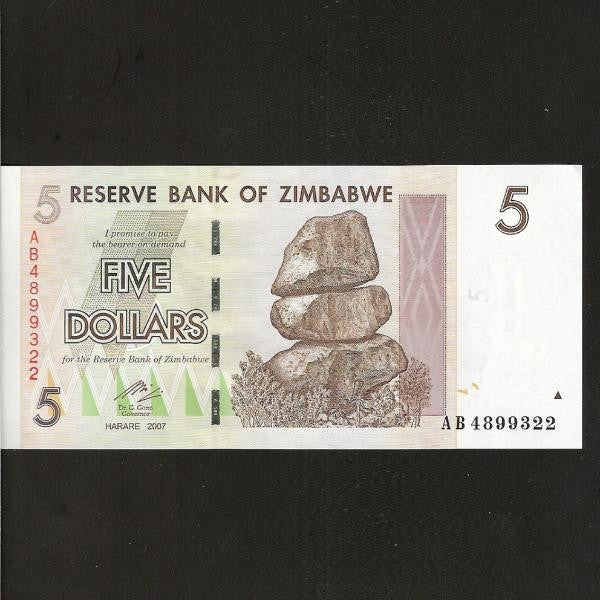 P.66 Zimbabwe 5 Dollars (2007) issued 2008 UNC - Colin Narbeth & Son Ltd.