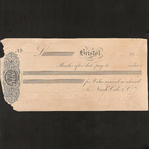 Provincial Cheque - Bristol unissued (18--) VG - Colin Narbeth & Son Ltd.