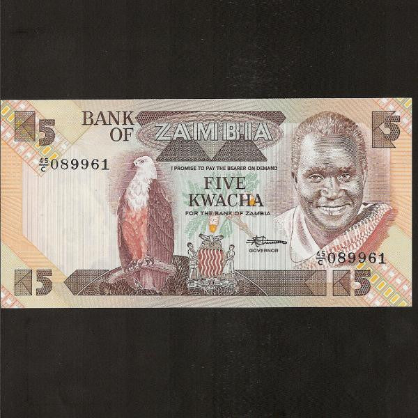 P.25d Zambia 5 Kwacha. New signature. UNC - Colin Narbeth & Son Ltd.