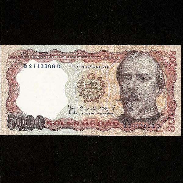 P.117b Peru 5000 Soles (1985) UNC - Colin Narbeth & Son Ltd.