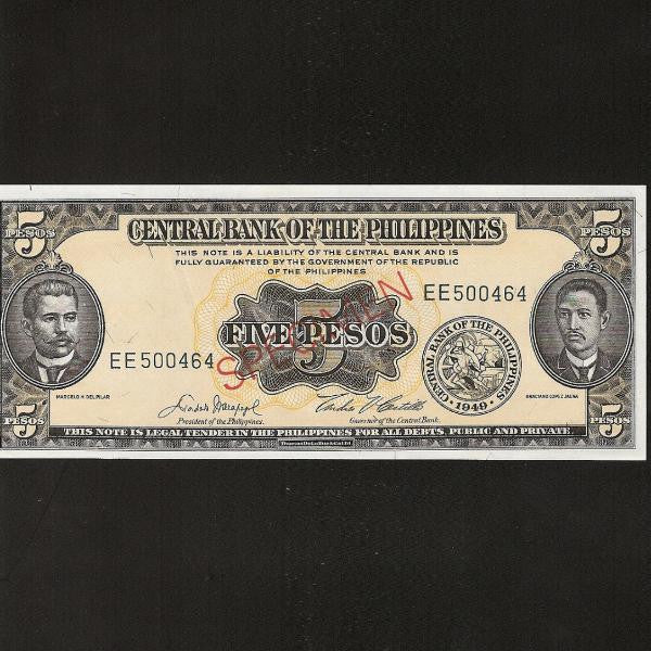 P.135s4 Philippines 5 Peso Specimen. Signature 5. UNC - Colin Narbeth & Son Ltd.
