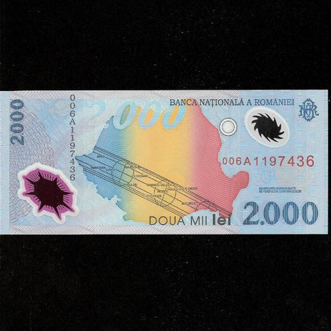 P.111a Romania 2000 Lei. Eclipse note, polymer. UNC - Colin Narbeth & Son Ltd.