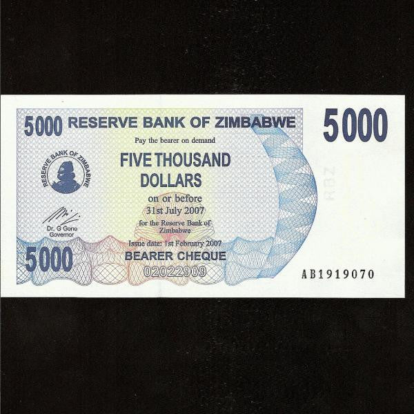 P.45 Zimbabwe 5000 Dollars (2007) UNC - Colin Narbeth & Son Ltd.