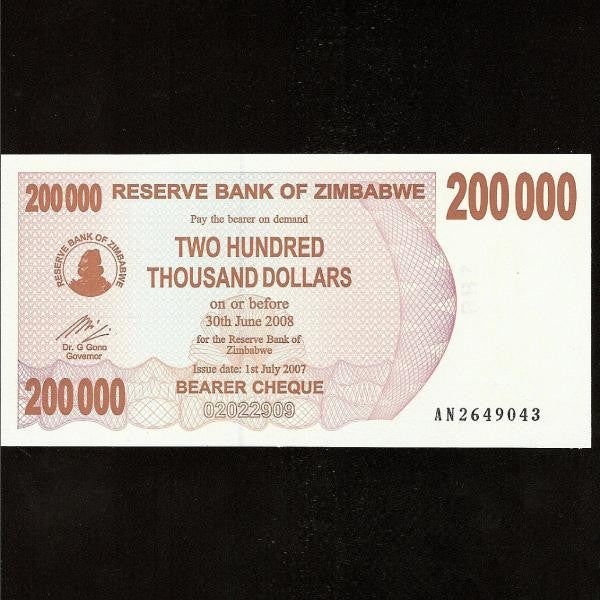 P.49 Zimbabwe 200000 Dollars (2007) UNC - Colin Narbeth & Son Ltd.