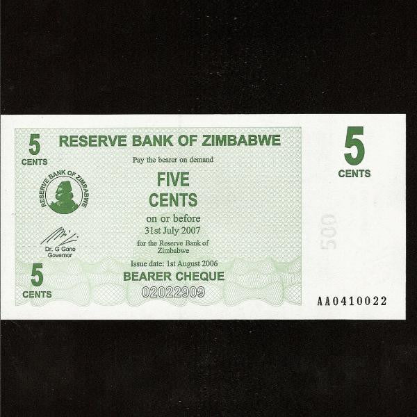 P.34 Zimbabwe 5 Cents (01.08.2006) UNC - Colin Narbeth & Son Ltd.